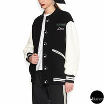 MiuMiu Casual Style Wool Blended Fabrics Bi-color Varsity Jackets