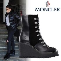 MONCLER Plain Toe Casual Style Plain Leather Ankle & Booties Boots