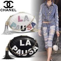 CHANEL Lambskin Tassel 2WAY Chain Plain Party Style Shoulder Bags
