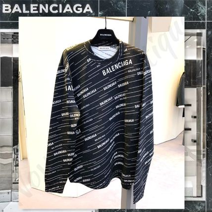 BALENCIAGA Knits & Sweaters Crew Neck Unisex Wool Long Sleeves Logos on the Sleeves