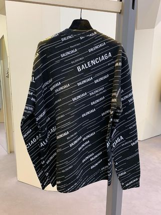 BALENCIAGA Knits & Sweaters Crew Neck Unisex Wool Long Sleeves Logos on the Sleeves 2