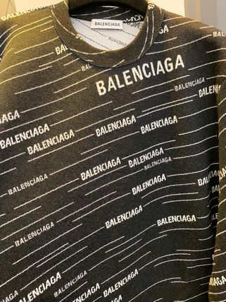 BALENCIAGA Knits & Sweaters Crew Neck Unisex Wool Long Sleeves Logos on the Sleeves 3