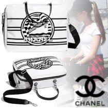 CHANEL Stripes Casual Style Calfskin Blended Fabrics A4 3WAY Chain