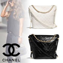 CHANEL Calfskin Chain Elegant Style Totes