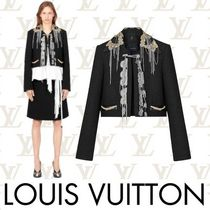 Louis Vuitton Short Tweed Chain Plain With Jewels Elegant Style Jackets
