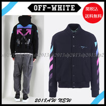 Off-White Short Wool Blended Fabrics Varsity Jackets