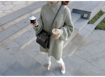 Cable Knit Blended Fabrics Long Sleeves Long Knitwear