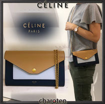 CELINE Pocket Trifolded Calfskin 3WAY Bi-color Chain Plain Elegant Style