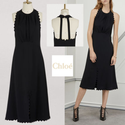 A-line Sleeveless Plain Medium Elegant Style Dresses