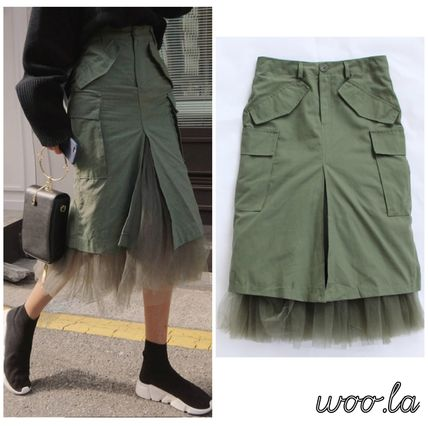 Pencil Skirts Casual Style Blended Fabrics Plain Cotton