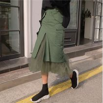 Pencil Skirts Casual Style Blended Fabrics Street Style