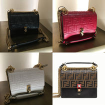 FENDI Monogram 2WAY Leather Elegant Style Shoulder Bags