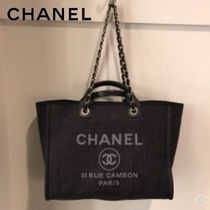 CHANEL DEAUVILLE Casual Style Unisex Canvas 2WAY Totes