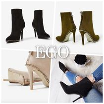 EGO Suede Pin Heels With Jewels Khaki Ankle & Booties Boots