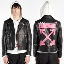 Off-White Short Street Style Leather Biker Jackets