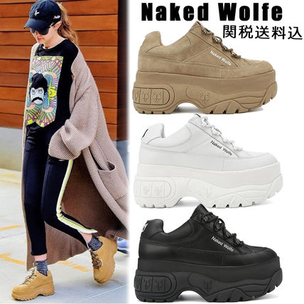 Naked Wolfe Platform & Wedge Platform Round Toe Casual Style Suede Street Style Plain