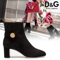 Dolce & Gabbana Plain Toe Casual Style Plain Leather Ankle & Booties Boots