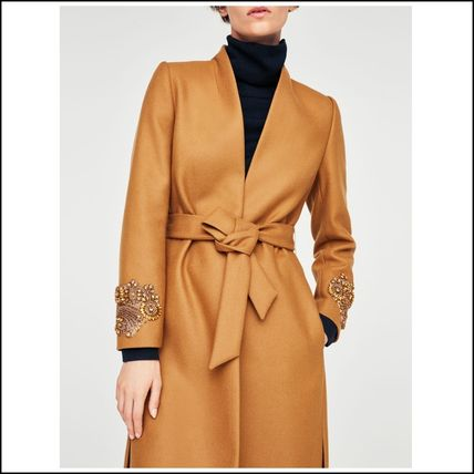 Wool Plain Medium With Jewels Elegant Style Wrap Coats