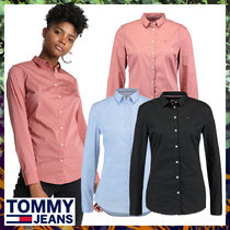 Tommy Hilfiger Long Sleeves Plain Cotton Long Office Style Shirts & Blouses