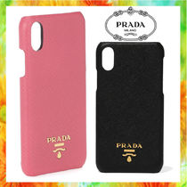 PRADA SAFFIANO LUX Unisex Street Style Plain Leather Smart Phone Cases