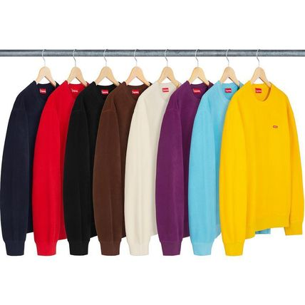 Supreme Sweatshirts Crew Neck Unisex Street Style Long Sleeves Plain Sweatshirts