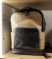 Coach Monogram Unisex Street Style A4 Plain Leather Backpacks