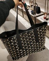 Jimmy Choo Studded Street Style A4 Plain Leather Totes
