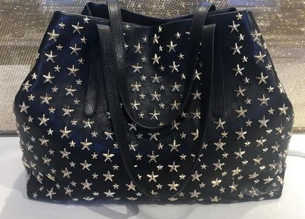 Studded Street Style A4 Plain Leather Totes
