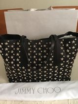 Jimmy Choo Star Studded Street Style A4 Plain Leather Totes