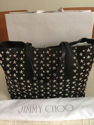 Star Studded Street Style A4 Plain Leather Totes