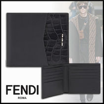 FENDI Calfskin Blended Fabrics Folding Wallets