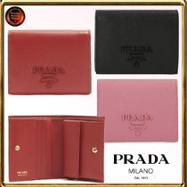PRADA MONOCHROME  Saffiano Plain Folding Wallets
