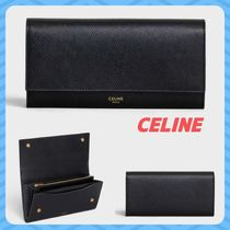 CELINE Flap Unisex Calfskin Street Style Plain Long Wallets