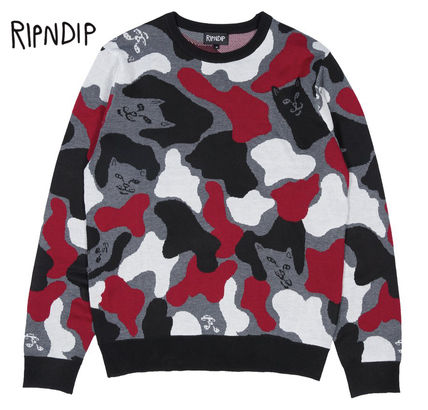 Camouflage Street Style Long Sleeves Knits & Sweaters