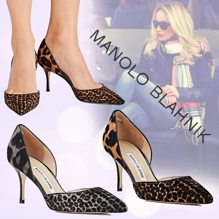Leopard Patterns Pin Heels Pointed Toe Pumps & Mules