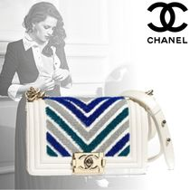 CHANEL BOY CHANEL Calfskin Bi-color Chain Elegant Style Handbags
