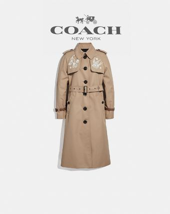 Casual Style Other Animal Patterns Long Trench Coats