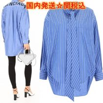 BALENCIAGA Other Check Patterns Casual Style Street Style Long Sleeves