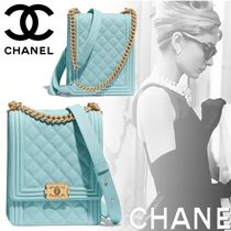 CHANEL BOY CHANEL Chain Leather Elegant Style Handbags