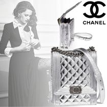 CHANEL BOY CHANEL Chain Plain Leather Elegant Style Handbags