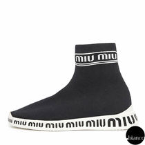MiuMiu Round Toe Rubber Sole Casual Style Low-Top Sneakers