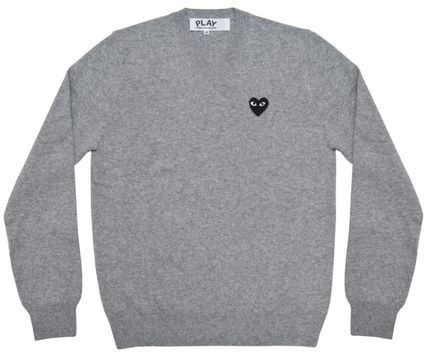 4f7e04389310 ... COMME des GARCONS Knits   Sweaters Heart Wool V-Neck Long Sleeves Plain  Knits ...