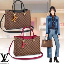Louis Vuitton DAMIER Leather Elegant Style Totes