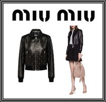 MiuMiu Short Casual Style Plain Leather With Jewels Jackets