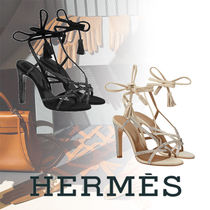 HERMES Open Toe Lace-up Tassel Plain Leather Pin Heels With Jewels