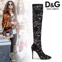 Dolce & Gabbana Flower Patterns Plain Toe Sheepskin Pin Heels Elegant Style