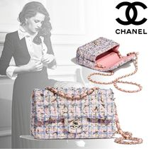 CHANEL Other Check Patterns Blended Fabrics Chain Elegant Style