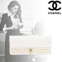 CHANEL Calfskin Plain Party Style Home Party Ideas Clutches