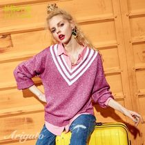 ELF SACK Stripes Casual Style Street Style V-Neck Long Sleeves Plain