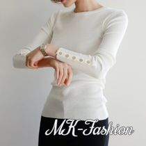 Casual Style U-Neck Long Sleeves Plain Medium Sweaters